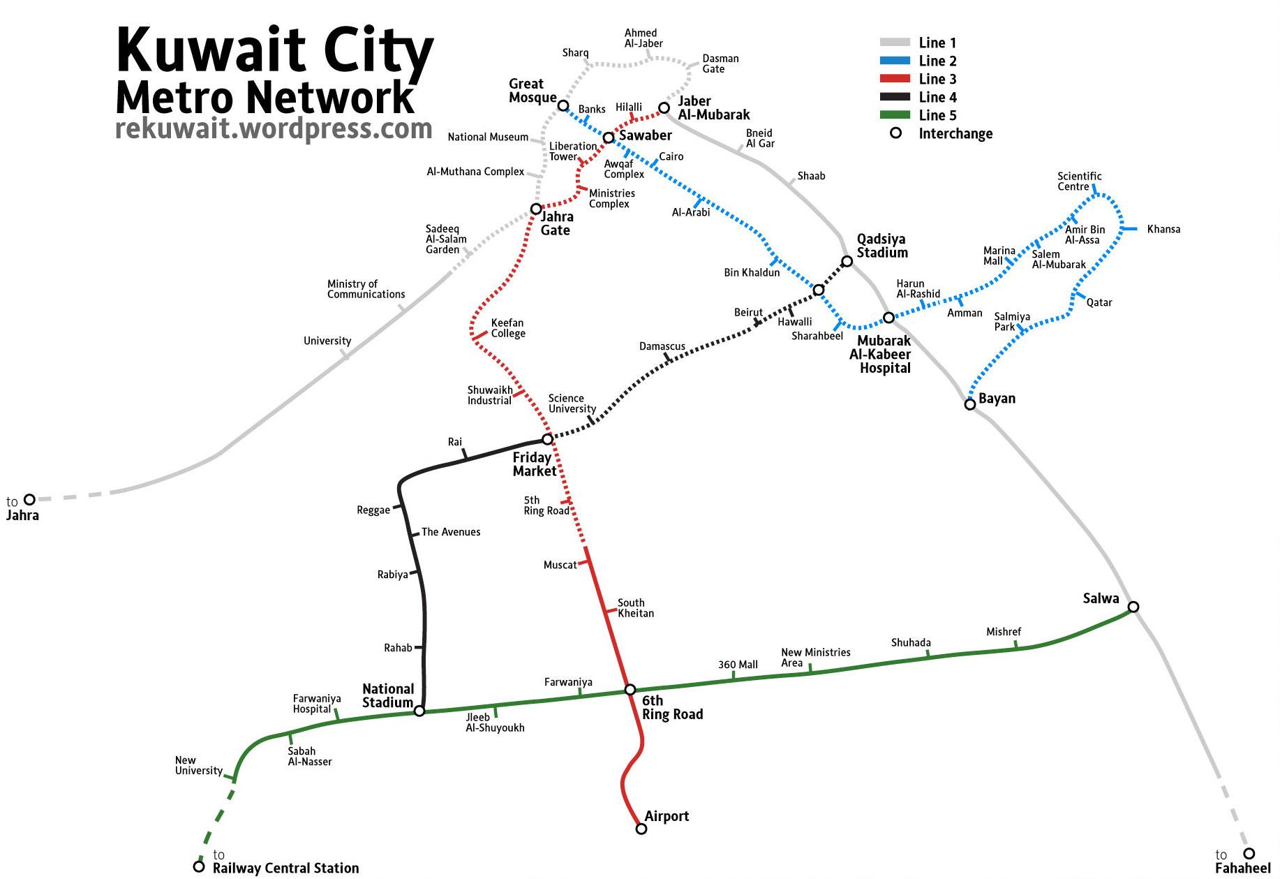 Kuwait Metro Map White